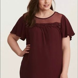 Torrid 3 wine colored rayon blouse